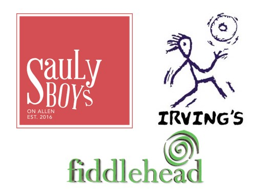 Sauly Boys, Irving's, and Fiddlehead